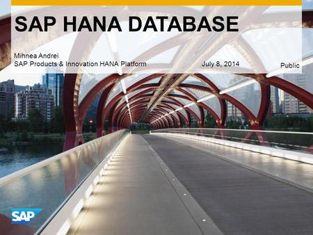 Use this title slide only with an image SAP HANA DATABASE Mihnea Andrei SAP Products & Innovation HANA PlatformJuly 8, 2014 Public.