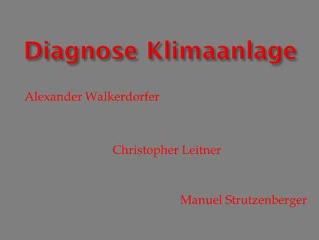 Diagnose Klimaanlage Alexander Walkerdorfer Christopher Leitner