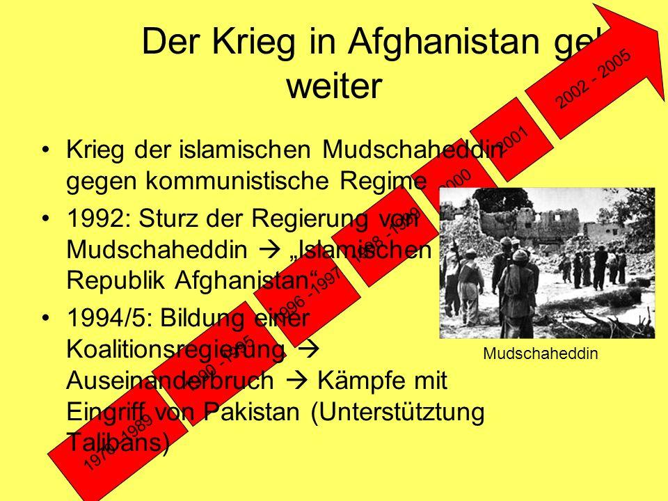 """Die Taliban erobern die Macht 1970 -1989 1990 -1995 1996 -1997 1998 -1999 2000 2001 2002 - 2005 1996: Taliban: Eroberung der Hauptstadt Kabul  """"Islamischen Emirat Afghanistan  Gesetz Scharia Norden des Landes  nicht von Taliban-Regime sondern Mudschaheddin-Gruppen beherrscht Taliban"""
