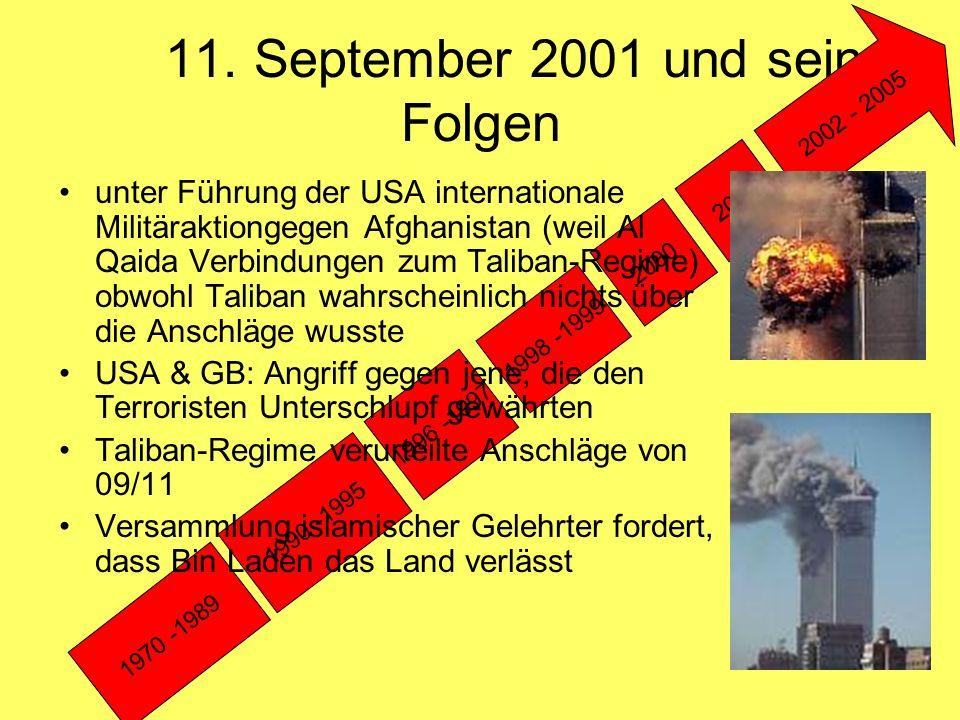 Sturz des Taliban-Regimes Auslieferung bleibt aus 7.10.2001: Kriegsbeginn: Luftangriffe der USA & GB (Verwendung von Militärbasen in Pakistan & Usbekistan), später auch US-Bodentruppen Kriegseingriff der Nord-Allianz Patschunen (Süd-Afghanistan): wollen keine Taliban- & keine Nord-Allianz- Regierung 2001 Kriegsende im Dez.