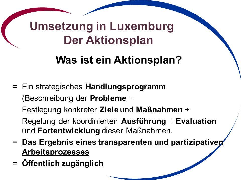 Umsetzung in Luxemburg Der Aktionsplan Wie wird der Aktionsplan verwirklicht.