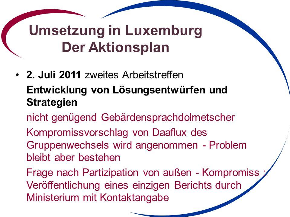 Umsetzung in Luxemburg Der Aktionsplan Wie gehts weiter .