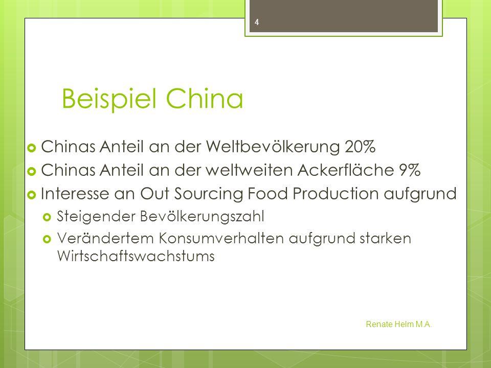 Chinas Landbesitz in Entwicklungsländern Renate Helm M.A.
