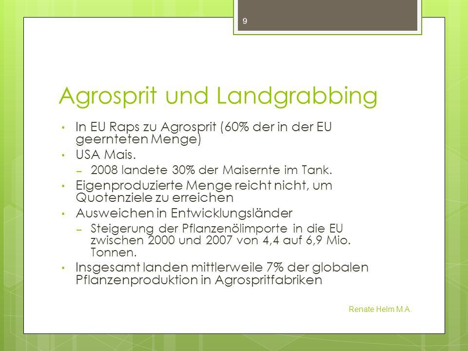 Agrosprit EU EU Richtlinie 2009/30/EG Änderungen und Anpassungen – Artikel 7b, Absatz 7 die Kommissionmuss (muss) dem Europäischen Parlament und dem Rat alle zwei Jahre über die Folgen einer erhöhten Nachfrage nach Biokraftsoff im Hinblick auf die soziale Tragbarkeit in der Gemeinschaft und in Drittländern sowie über die Folgen der Biokraftstoff-Politik der Gemeinschaft hinsichtlich der Verfügbarkeit von Nahrungsmitteln zu erschwinglichen Preisen, insbesondere für die Menschen in Entwicklungsländern und über weitergehende entwicklungspolitische Aspekte berichten Vorlage EU Gesetzentwurf auf Streichung der Subventionen für Sprit aus Raps, Mais oder anderen Nahrungsmitteln bis zum Ende dieses Jahrzehnts Renate Helm M.A.