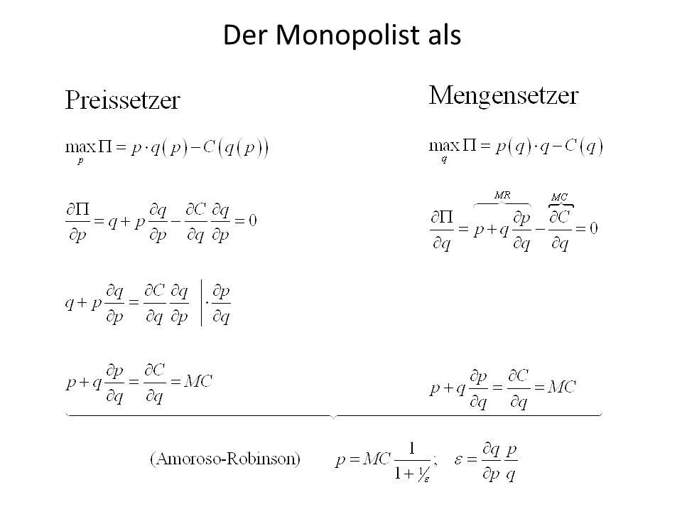 Monopolentscheidung Grenzkosten MC Inverse Nachfrage p=p(q) Preis Menge pMpM q* qMqM Grenz- Erlöse MR p*