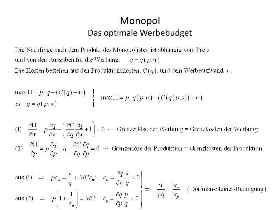 Preisdifferenzierung (-diskriminierung) im Monopol Eine Gewinnerhöhende Preisstrategie des Monopolisten ist die Preisdifferenzierung.