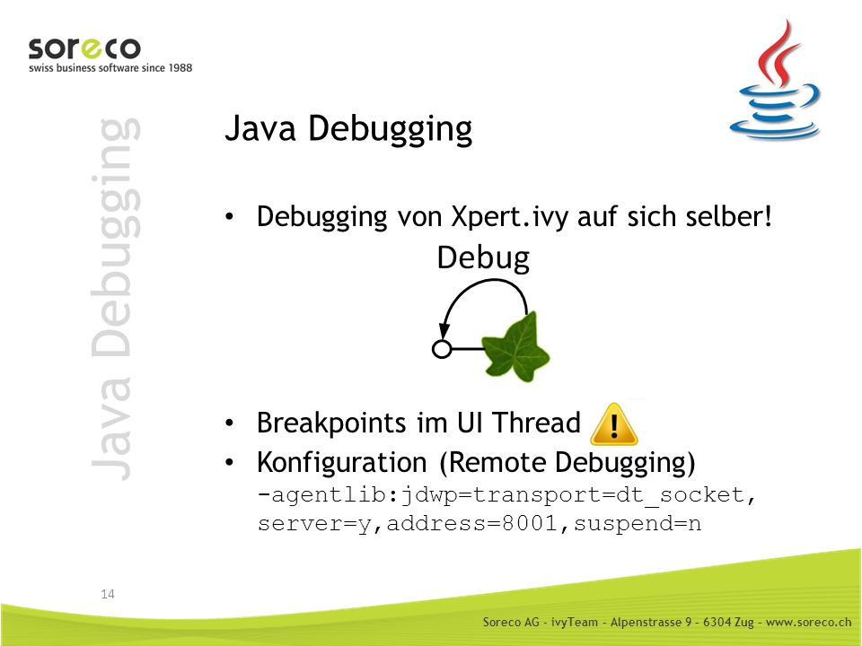 Soreco AG - ivyTeam – Alpenstrasse 9 – 6304 Zug – www.soreco.ch Visual VM Monitoring von Java Prozessen: – CPU – Memory – Garbage Collection – Threads – Anzahl Instanzen 15