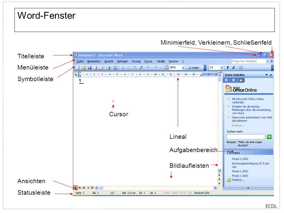 ECDL Symbolleisten Standard-Symbolleiste Format-Symbolleiste Zeichen-Symbolleiste Führen Sie auf Ihrem Rechner den Mauspfeil über die verschiedenen Symbole, um deren jeweilige Bedeutung angezeigt zu bekommen.
