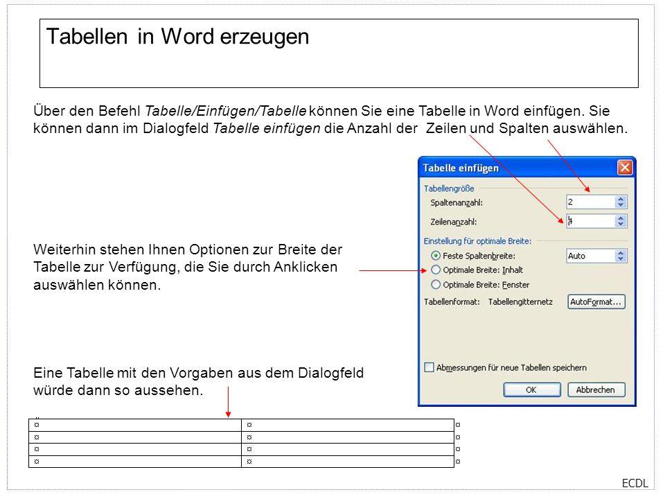 ECDL Rahmen und Schattierungen Über den Befehl Format/Rahmen und Schattierungen können Sie einem Absatz, einer Zelle oder einer Tabelle einen Rahmen hinzufügen.