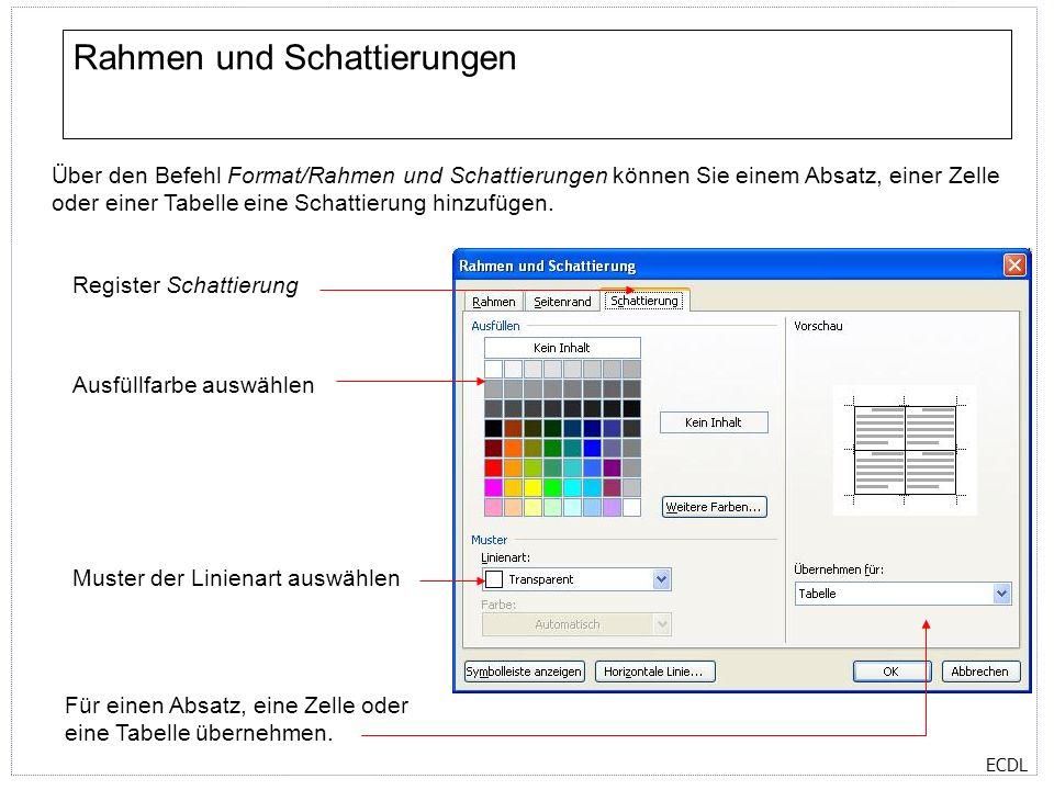 ECDL Tabstopps Über den Befehl Format/Tabstopps können Sie verschiedene Tabstopps für Ihr Dokument festlegen.