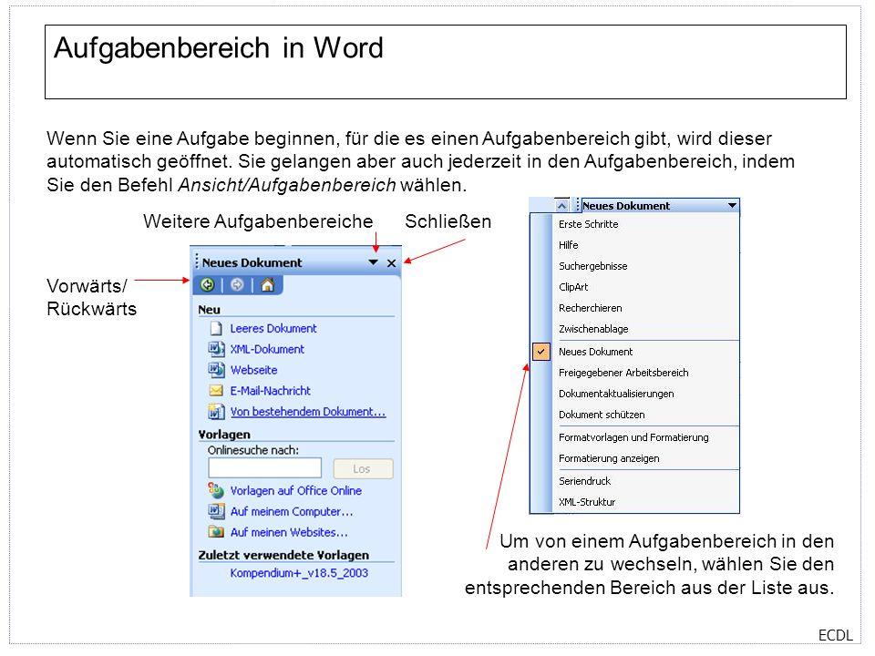 ECDL Hilfe in Word In Office 2003 Anwendungen gibt es zwei verschiedene Arten von Hilfe: Offline Eine große Sammlung an Hilfethemen, die in der Anwendung auf ihrem Computer gespeichert ist.