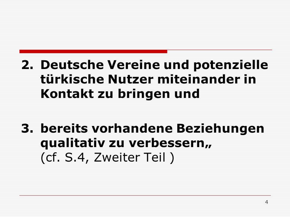 5 Es wurden folgende Akteure befragt: 1.türkische Eltern 2.türkische Jugendliche 3.deutsche Vereinsvertreter in Kreis und Stadt Offenbach