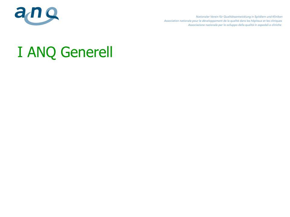 >ANQ: Association Nationale de Qualité Der ANQ koordiniert Ergebnisqualitätsmessungen Auftrag und Zielsetzungen ist die Etablierung einer nationalen Lösung im Bereich der Qualitätsentwicklung und -transparenz, basierend auf dem KVG und KVV Die Messpläne der Fachbereiche Akut, Psychiatrie & Rehabilitation sind von der SwissDRG AG als Begleitmassnahme zur Einführung der leistungsabhängigen Finanzierung deklariert 6