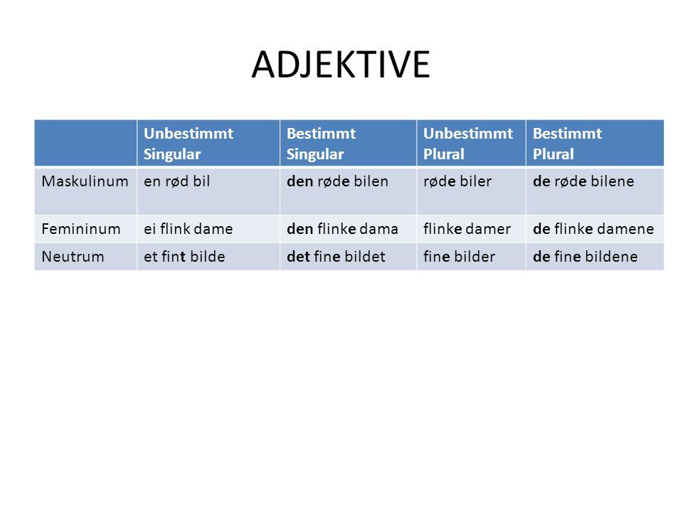 Beispiel Studenten skrev ………… (god) oppgaver Studenten skrev gode oppgaver oppgaver steht in der unbestimmten Form Plural; das Adjektiv bekommt eine –e-Endung