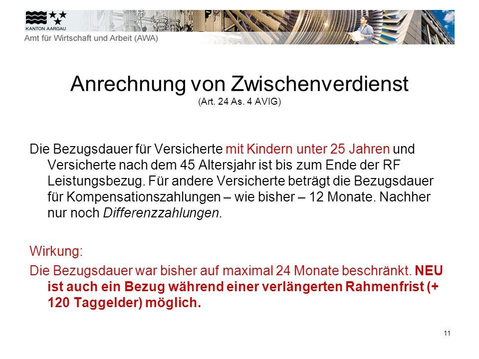12 Beitragszeiten - Wirkung per 1.April 2011 ( Art.
