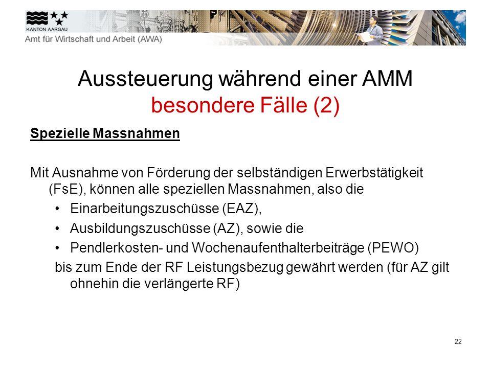 23 Aussteuerung während einer AMM besondere Bestimmungen (3) Unfallversicherung Die NBU-Deckung bei der SUVA erlischt am 30.