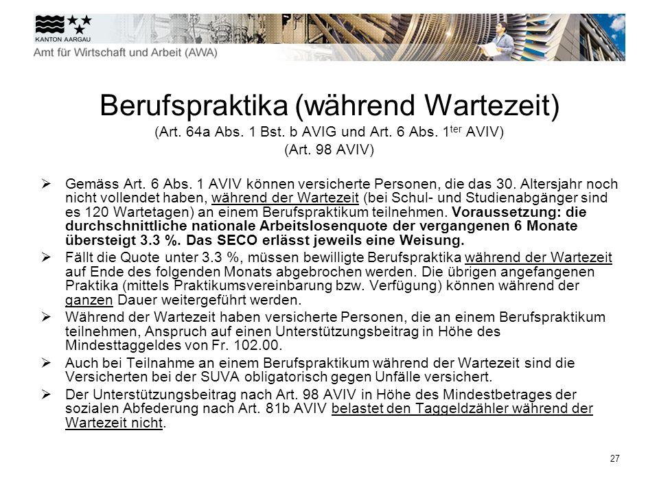 28 Einarbeitungszuschüsse (Art.90 Abs. 1 Bst.
