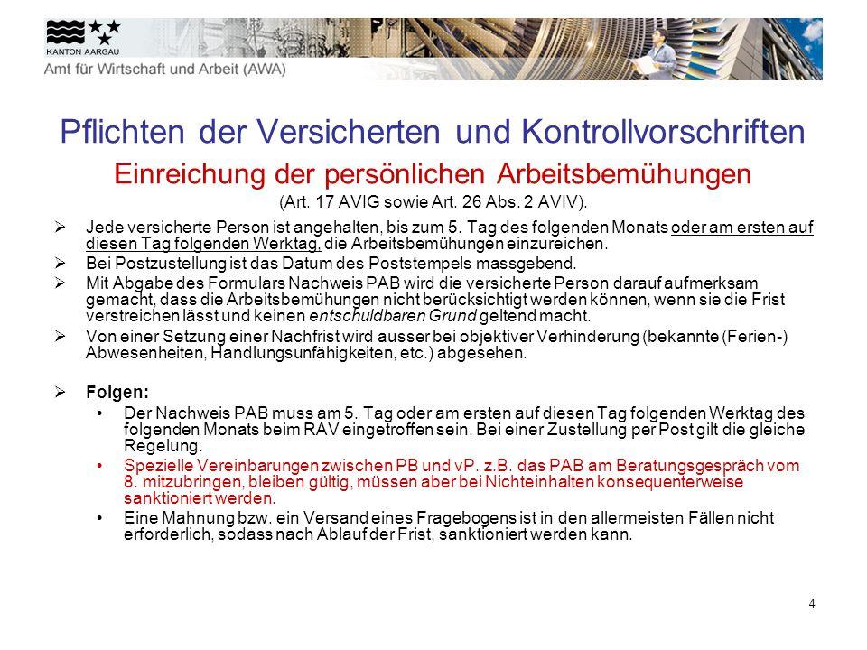 5 Wartezeiten allgemeine Wartetage (Art.18 Abs. 1 AVIG sowie Art.