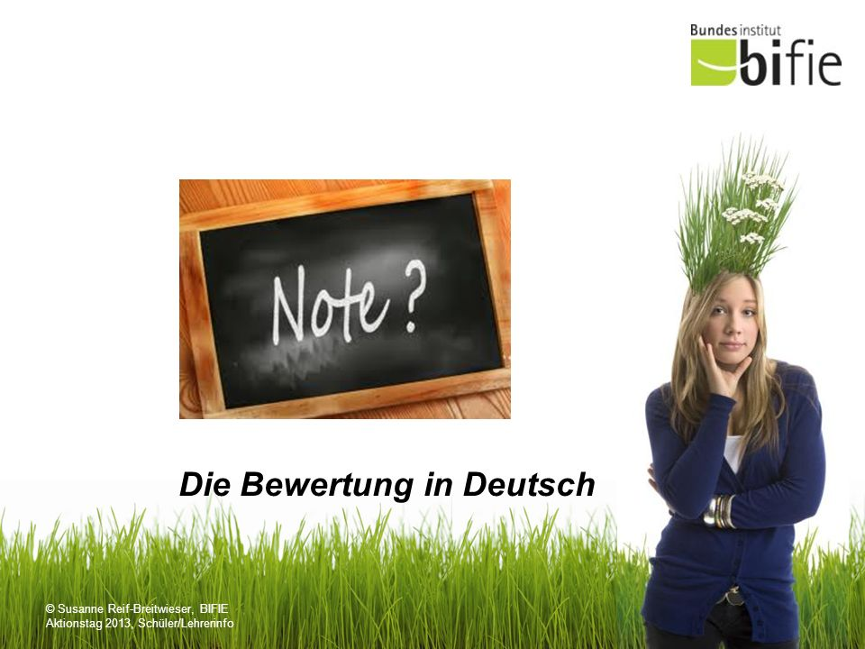 © Susanne Reif-Breitwieser, BIFIE Aktionstag 2013, Schüler/Lehrerinfo Erläuterungen zur Bewertung Grundlage für die Bewertung bildet ein analytischer Kriterienraster, der sich auf die LBVO stützt.