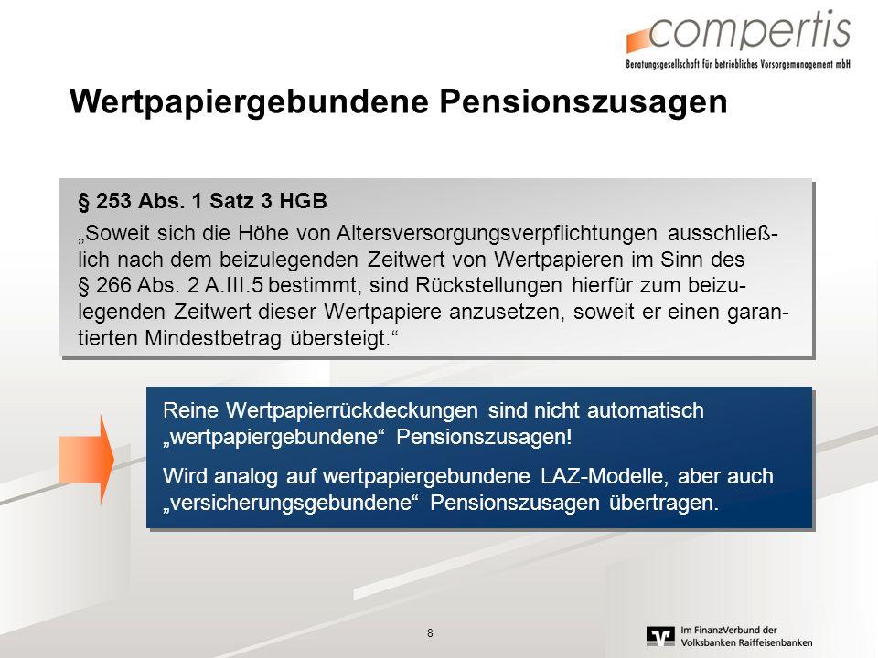 9 Versicherungsgebundene Pensionszusage Entgeltumwandlung auf Basis einer Rückdeckungsversicherung Einmalumwandlung von 5.000 im Alter 40,, Rückstellungsbewertung ist in 2008 steuerlich geprägt, alternativ 2009 unter Berücksichtigung einer versicherungsge- bundenen Pensionszusage Rückst.