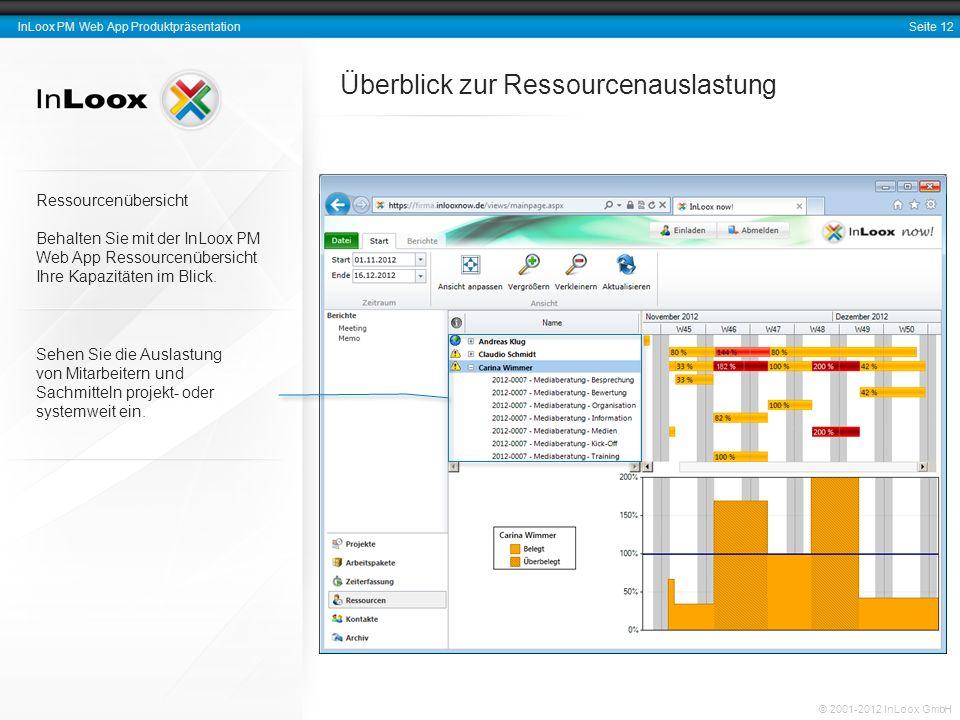 Seite 13 InLoox PM Web App Produktpräsentation © 2001-2012 InLoox GmbH Projektzeiterfassung Arbeits- und Zeitdokumentation InLoox PM Web App erleichtert eine lückenlose Dokumentation Ihrer Zeitaufwendungen.
