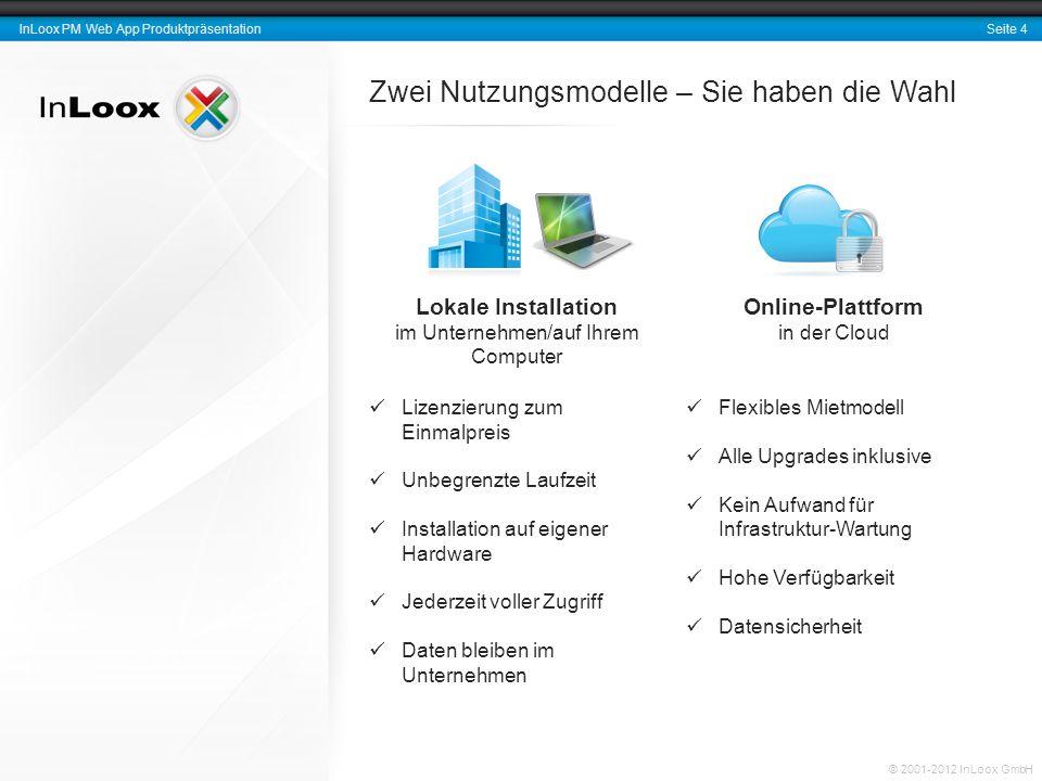 Seite 5 InLoox PM Web App Produktpräsentation © 2001-2012 InLoox GmbH Plattform- und Geräteunabhängigkeit InLoox PM Web App… … ist kompatibel mit den wichtigsten Internet-Browsern.