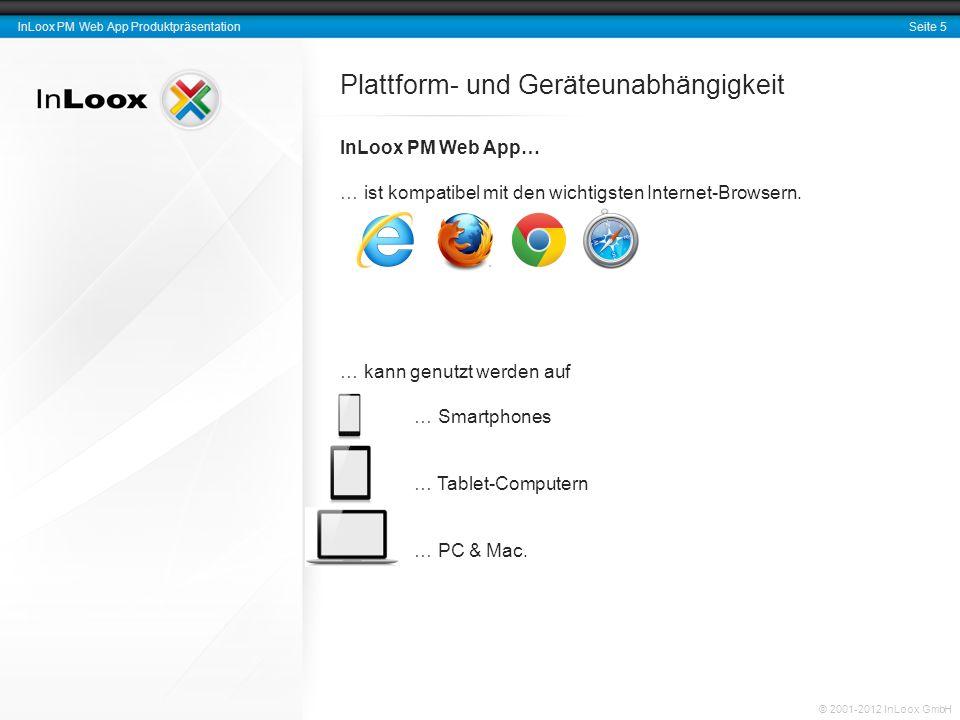 Seite 6 InLoox PM Web App Produktpräsentation © 2001-2012 InLoox GmbH Plattform- und Geräteunabhängigkeit InLoox PM Web App… … ist plattformunabhängig.