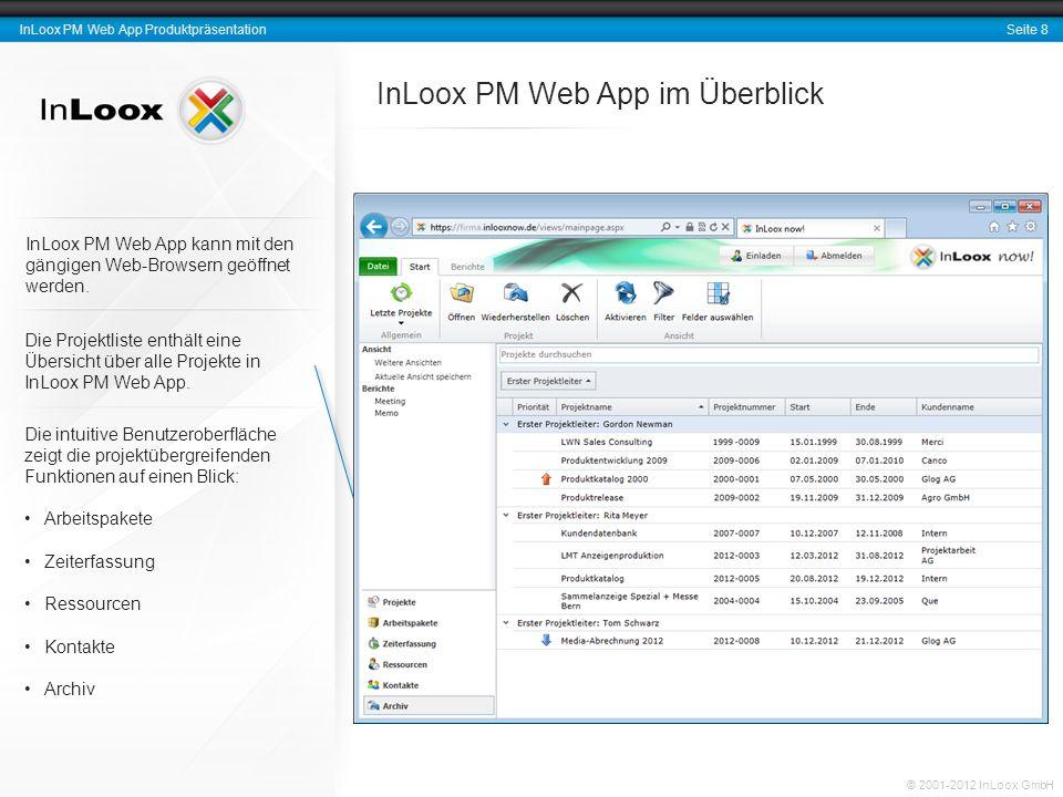 Seite 9 InLoox PM Web App Produktpräsentation © 2001-2012 InLoox GmbH Ein Projekt im Detail InLoox PM Web App sorgt für eine klare Strukturierung Ihrer Projekte.