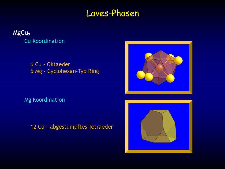 Mg Atome bilden ein Wurzit (Lonsdaleite)- Typ (AB Packung) Struktur Mg Koordination: abgestumpftes Tetraeder Laves-Phasen MgZn 2 Typ MgNi 2 Typ hexagonal ABAC Packung
