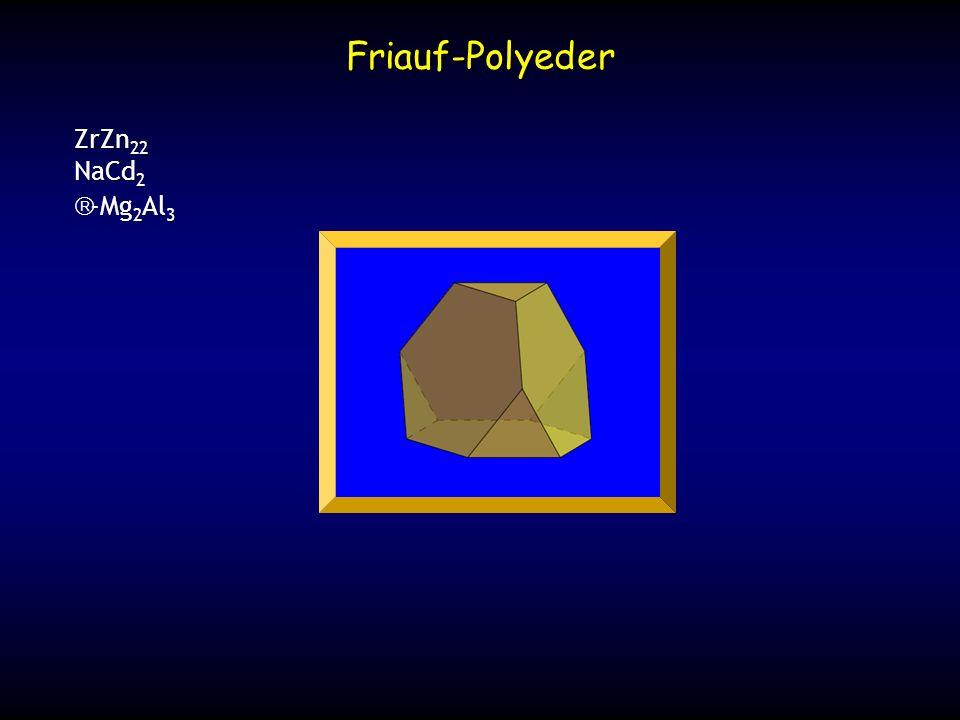 drei 234-Atom Komplexe fünf 234-Atom Komplexe tetraedrisch angeordnet fünf Friauf- Polyeder (F 5 ) sechs F 5 Polyeder oktaedrisch angeordnet (234 Atome) zwei 234-Atom Komplexe NaCd 2 -Mg 2 Al 3