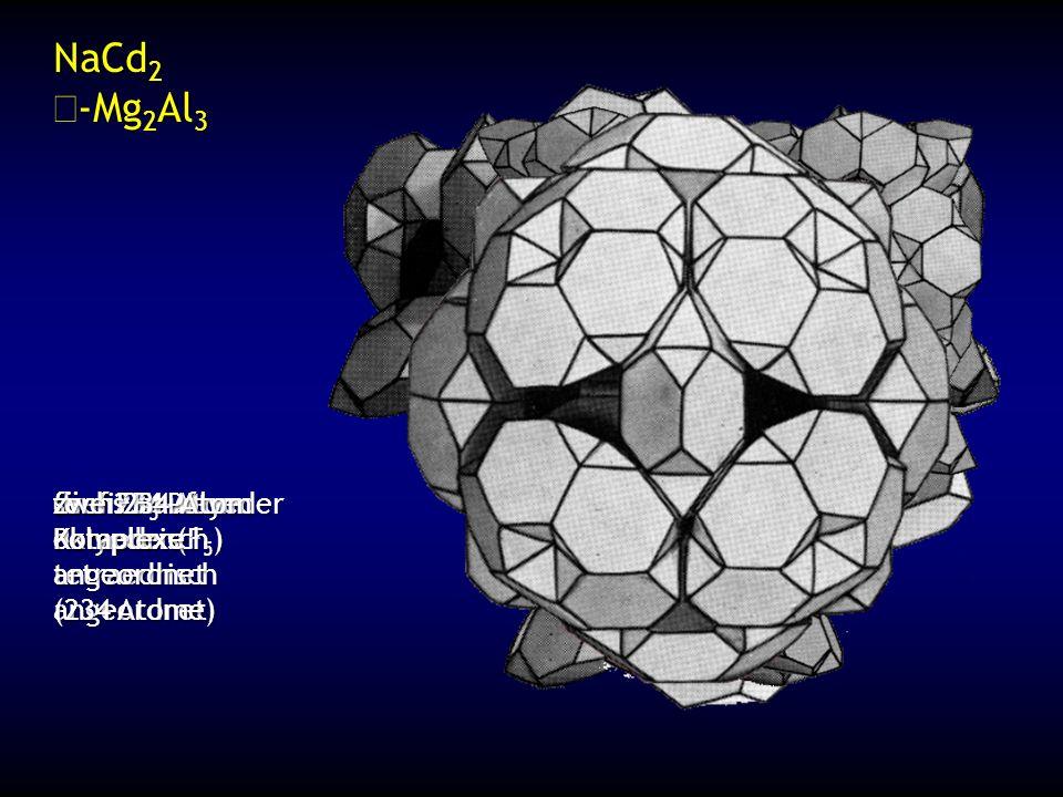 Ikosaederstrukturen (Kristalloide) ikosaedrische Koordination Atom in der Mitte (KZ=12) etwas kleiner Sechs 5-zählige Achsen (jede Ecke) Zehn 3-zählige Achsen (jede Fläche) kristallographisch nicht erlaubt kubische Symmetrie