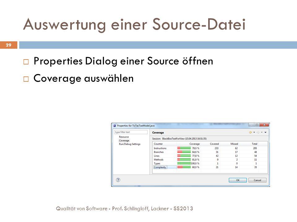 Testanalyse und Testfallentwurf Übungsaufgaben 30 Qualität von Software - Prof.