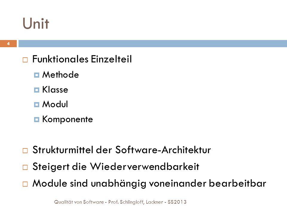 Unit Testing 5 Unit kleinste testbare Einheit einer Anwendung Units werden isoliert getestet Notwendige umgebende Komponenten der Unit: Ersetzung durch Stubs oder Mock-Ups (keine Prototypen!) Testharness/framework Qualität von Software - Prof.