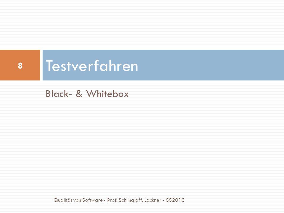 Blackbox Test Spezifikationsbasierter Blackbox-Test Eine Spezifikation beschreibt das erwartete Verhalten Interna des Testlings sind nicht einsehbar Tests überprüfen die Einhaltung der Spezifikation Exploratives Testen Spezifikation ist unbekannt Tester lernen das System kennen und wenden Erfahrungswerte an Wiederverwendung für Regressionstests 9 Qualität von Software - Prof.