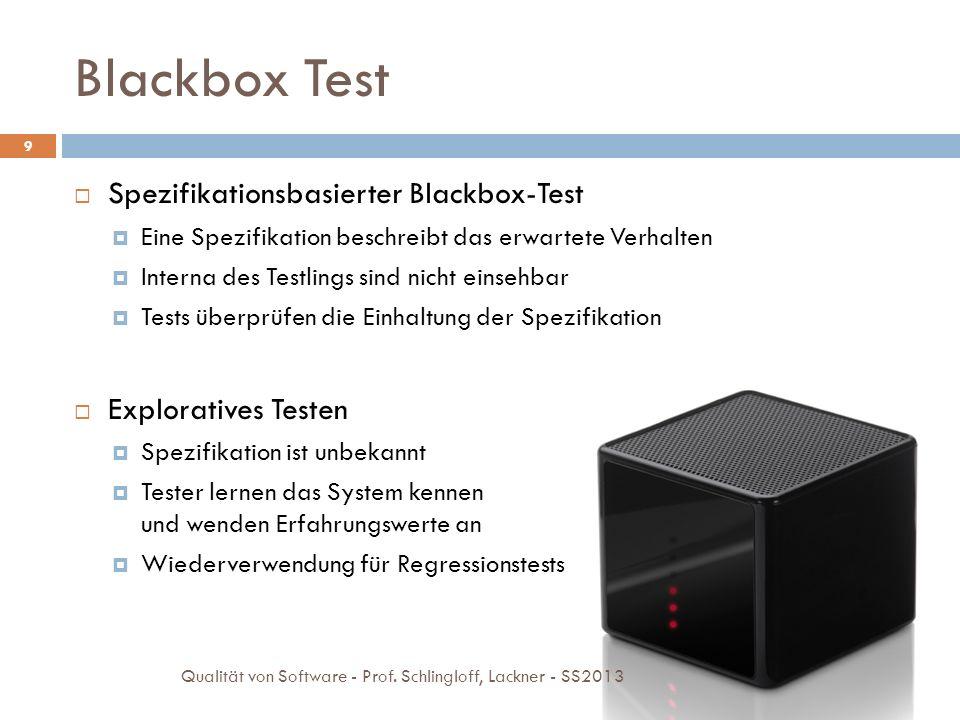 Blackbox Techniken 10 Äquivalenzklassenbildung Grenzwertanalyse Zustandsbezogener Test Entscheidungstabellen Qualität von Software - Prof.