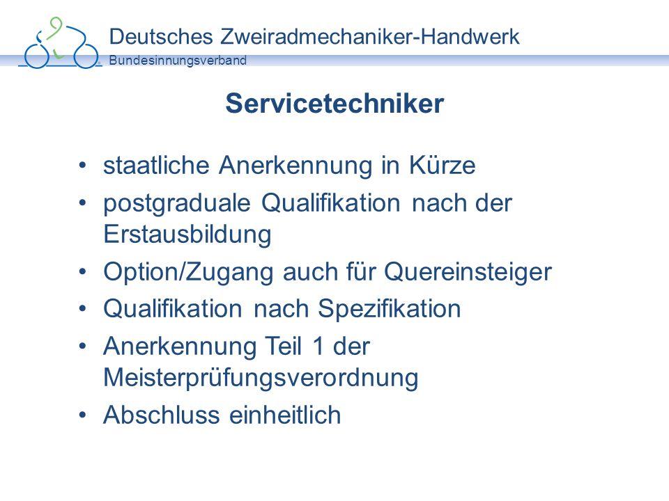 Deutsches Zweiradmechaniker-Handwerk Bundesinnungsverband Zweiradmechaniker-Meister bislang höchste Graduierung im Handwerk Qualifikation nach Spezifikation Abschluss einheitlich