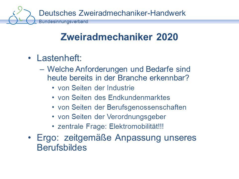 Deutsches Zweiradmechaniker-Handwerk Bundesinnungsverband Zweiradmechaniker 2020 Herausforderungen insgesamt –EQR/DQR –Schaffung vergleichbarer Qualitätsstandarts innerhalb der EU-Mitgliedsstaaten Herausforderungen für das Zweiradmechaniker-Handwerk –Schaffung von Mindeststandarts bereits in der Aus- und Weiterbildung auf Bundesebene