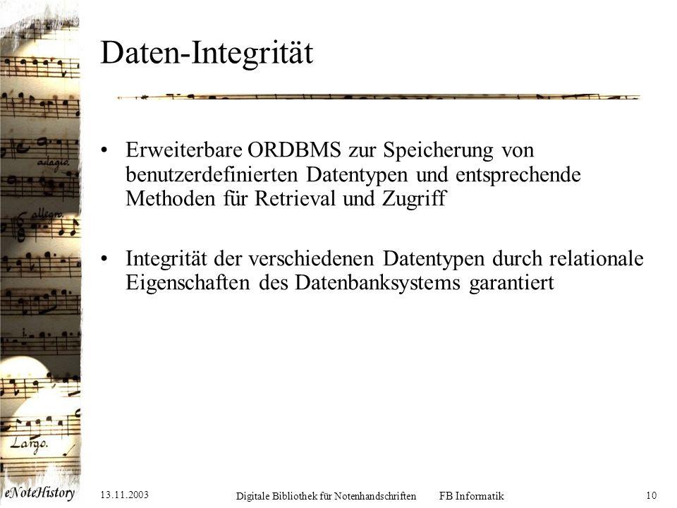 13.11.2003 Digitale Bibliothek für Notenhandschriften FB Informatik 11 Notenhandschriften-Metadaten Verwendeter Notenhandschriften-Katalog entspricht z.T.