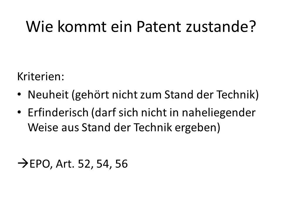Wie kommt ein Patent zustande? Ablauf: Idee Beschreibung Antrag Recherche Entscheid