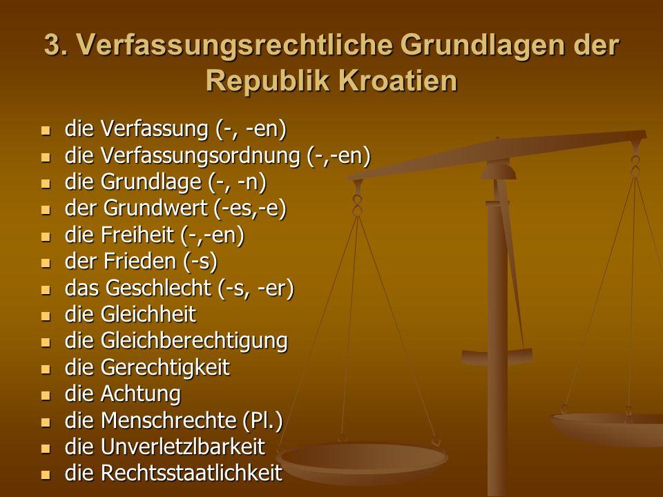 das Eigentum (-s) das Eigentum (-s) der Umweltschutz (-es) der Umweltschutz (-es) das Mehrparteiensystem (-s, -e) das Mehrparteiensystem (-s, -e) die Auslegung der Verfassung die Auslegung der Verfassung das Referendum (-s, -en) das Referendum (-s, -en) die Gründung (-, -en) die Gründung (-, -en) das Wahlrecht (-s,) das Wahlrecht (-s,) die Herkunft (-, ) die Herkunft (-, ) der Angehörige (-n,-n) der Angehörige (-n,-n) die Minderheit (-, -en) die Minderheit (-, -en) der Rechtsstaat (-es, -en) der Rechtsstaat (-es, -en) die Gewaltenteilung (-) die Gewaltenteilung (-) das Legalitätsprinzip (-s, -ien) das Legalitätsprinzip (-s, -ien) der gerichtliche Schutz (-es) der gerichtliche Schutz (-es) der Aufbau (-s) der Aufbau (-s) die Verfassungsänderung (-, -en) die Verfassungsänderung (-, -en)