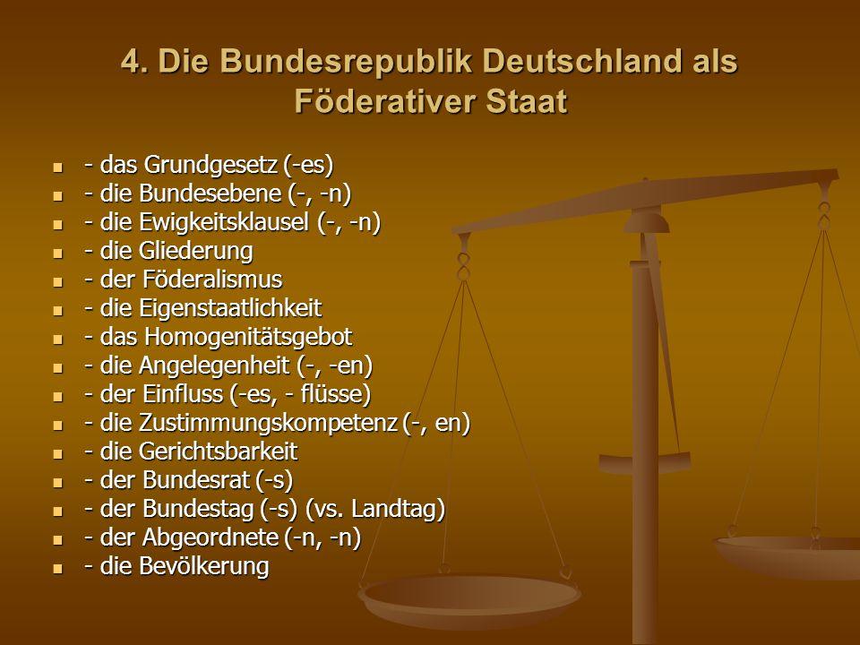 - das Schwergewicht (-s, -e) - das Schwergewicht (-s, -e) - die Gesetgebung - die Gesetgebung - der Einzelfall (-es, -fälle) - der Einzelfall (-es, -fälle) - die Bundesversammlung - die Bundesversammlung - das Mitglied (-s, -er) - das Mitglied (-s, -er) - die Richtlinie - die Richtlinie - der Bundespräsident (-en,-en) - der Bundespräsident (-en,-en) - die Bundesregierung (vs.