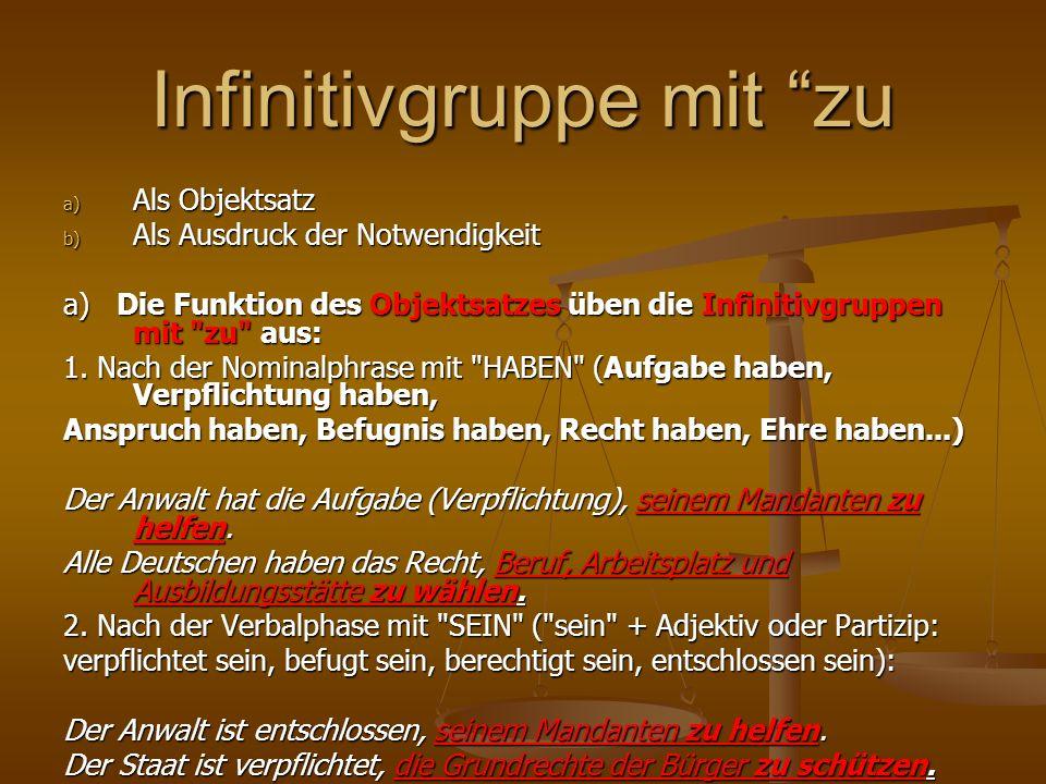 Statt Objektsätze nach transitiven Verben 3.