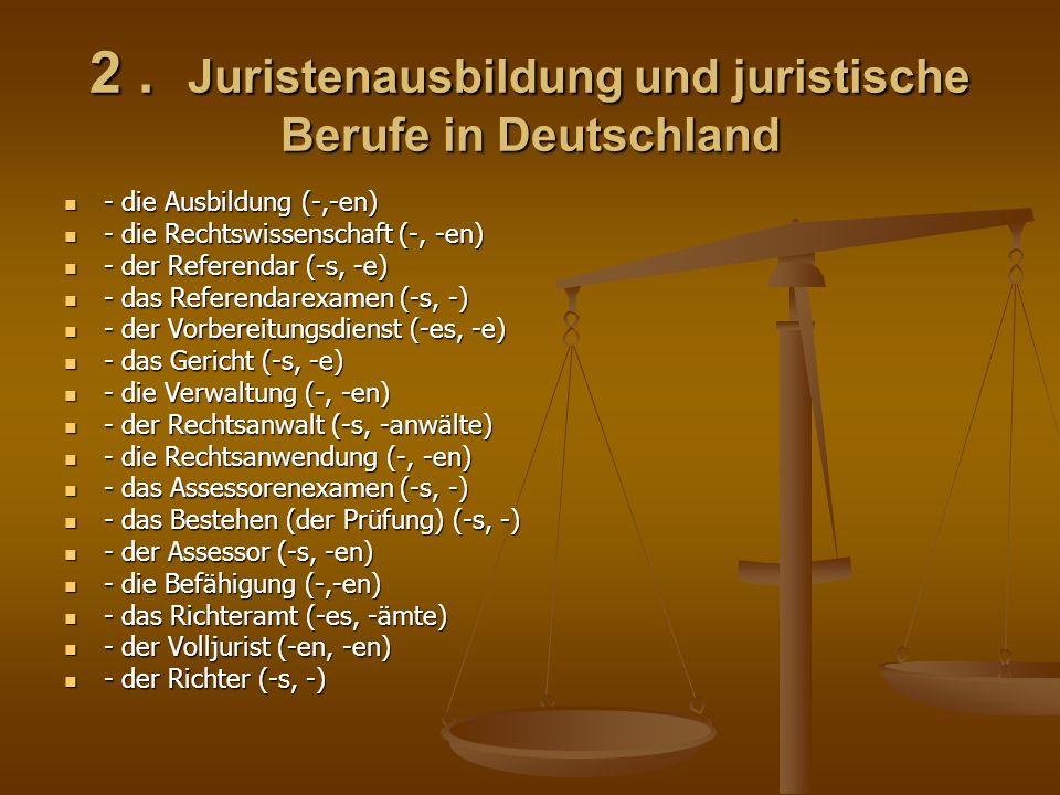 - der Staatsanwalt (-s, -anwälte) - der Staatsanwalt (-s, -anwälte) - der Notar (-s, -e) - der Notar (-s, -e) - der Amtsnotar - der Amtsnotar - der Mandant (-en, -en) - der Mandant (-en, -en) - die Zulassung (-, -en) - die Zulassung (-, -en) - das Amtsgericht (I) - das Amtsgericht (I) - das Landgericht (II) - das Landgericht (II) - das Oberlandsgericht (III) - das Oberlandsgericht (III) - der Bundesgerichtshof (IV) - der Bundesgerichtshof (IV) - die Rechtspflege (-, -en) - die Rechtspflege (-, -en) - die Beurkundung (-, -en) - die Beurkundung (-, -en) - die Gestaltung (-, -en) - die Gestaltung (-, -en) - das Grundstücksgeschäft (-s, -e) /Grundstück + Geschäft/ - das Grundstücksgeschäft (-s, -e) /Grundstück + Geschäft/ - der Gesellschaftsvertrag (-s, -verträge) /Gesellschaft + Vertrag/ - der Gesellschaftsvertrag (-s, -verträge) /Gesellschaft + Vertrag/ - der Ehevertrag - der Ehevertrag - der Erbvertrag - der Erbvertrag - der Beamte (-n, -n) // der Angestellte (-n, -n) - der Beamte (-n, -n) // der Angestellte (-n, -n)