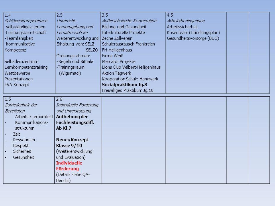 Themen der Schulentwicklungsgruppe im Schuljahr 2013/14 Unterrichtsentwicklung Regeln und Respekt Rhythmisierung -Fächerübergreifendes Lernen -Individuelle Förderung -Selbstorganisiertes Lernen -Aufhebung der Fachleistungsdifferenzierung -Tagesstruktur -Neues Stundenraster -offener Tagesbeginn -Vertretungskonzept -Festlegen von Standards -Lobkultur -Jahrgangsregeln -Konfliktlösungsstrategien
