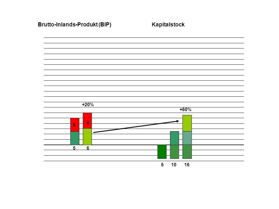 5 5 510 Brutto-Inlands-Produkt (BIP)Kapitalstock 6 6 16 +60% +20% 7,2 +20% 23,2 +45%