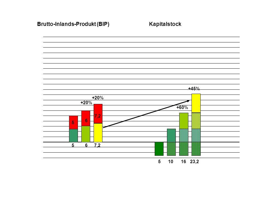 5 5 510 Brutto-Inlands-Produkt (BIP)Kapitalstock 6 6 16 +60% +20% 7,2 +20% 23,2 +45%+20% 8,6 +37% 31,8
