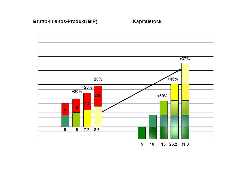 5 5 510 Brutto-Inlands-Produkt (BIP)Kapitalstock 6 6 16 +60% +20% 7,2 +20% 23,2 +45%+20% 8,6 +37% 31,8 +20% 10,4 42,2 +33%