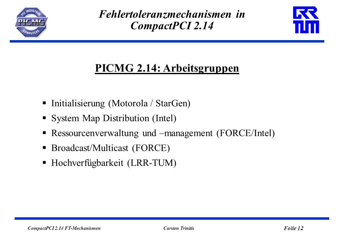 CompactPCI 2.14 FT-Mechanismen Folie 13 Carsten Trinitis Fehlertoleranzmechanismen in CompactPCI 2.14 Terminologie: CompactPCI versus Multicomputing CompactPCI-System: (Redundant ausgelegter) System Host (SH) im System Slot (siehe Folie 8) der CompactPCI-Backplane.