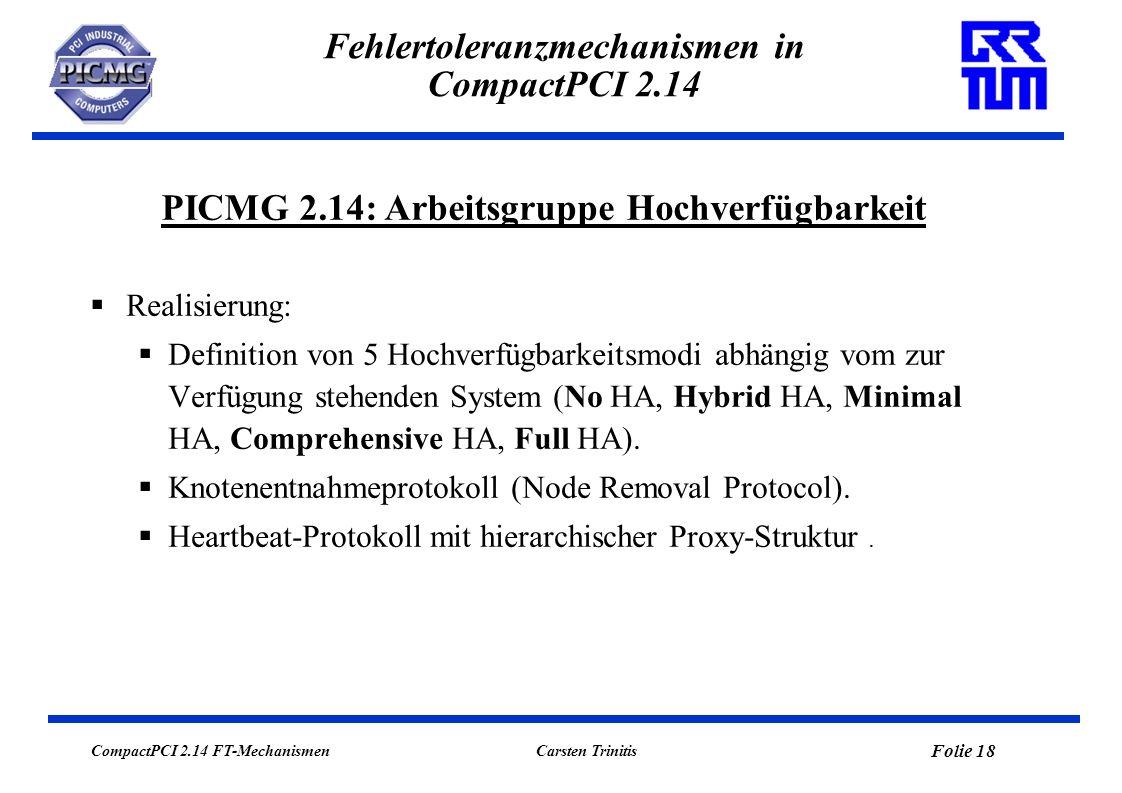 CompactPCI 2.14 FT-Mechanismen Folie 19 Carsten Trinitis Fehlertoleranzmechanismen in CompactPCI 2.14 High Availability Mode 0: No High Availability In den MCNet-Kontrollstrukturen sind keine Redundanz- /Switchover-Mechanismen implementiert.
