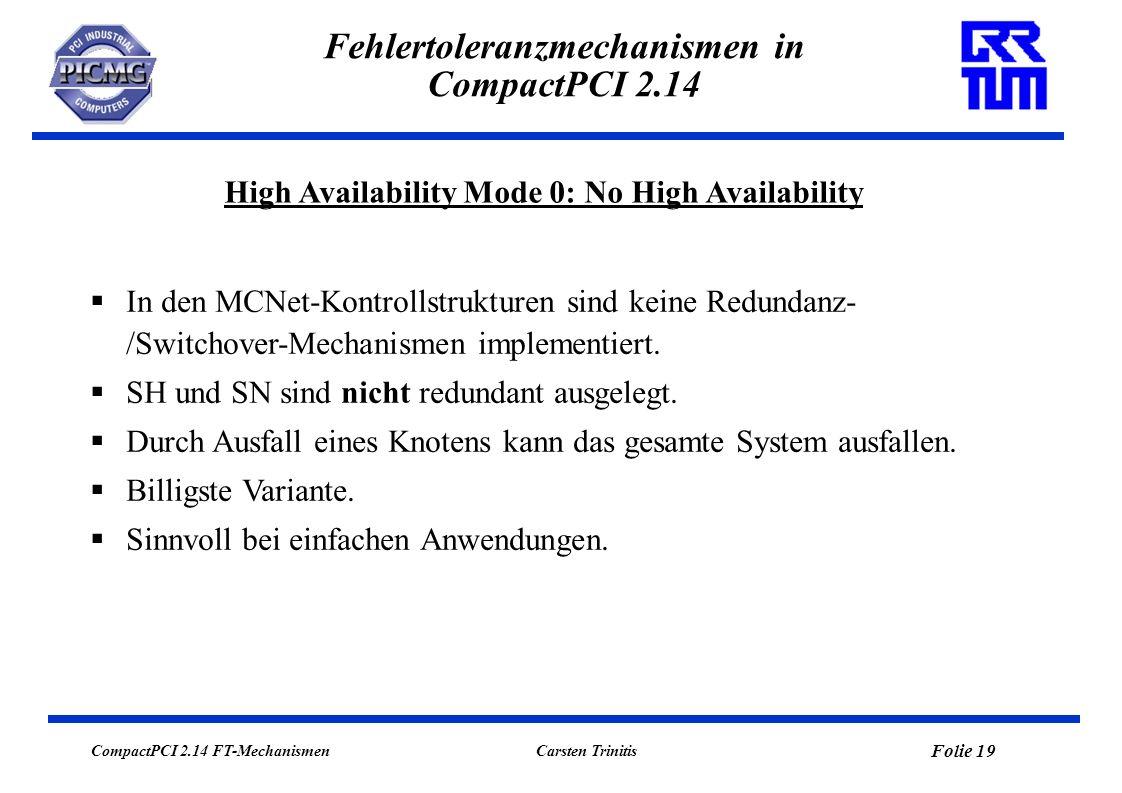 CompactPCI 2.14 FT-Mechanismen Folie 20 Carsten Trinitis Fehlertoleranzmechanismen in CompactPCI 2.14 High Availability Mode 0: No High Availability Higher Layers Data Link Layer Physical Layer Peripheral Node (PN) Application Networking Software PICMG 2.14 Software (PN) Peripheral Node (PN) Application Networking Software PICMG 2.14 Software (PN) Peripheral Node (PN) Application Networking Software PICMG 2.14 Software (PN) System Host (SH) System Node (SN) Application Networking Software PICMG 2.14 Software (SN) CompactPCI Bus